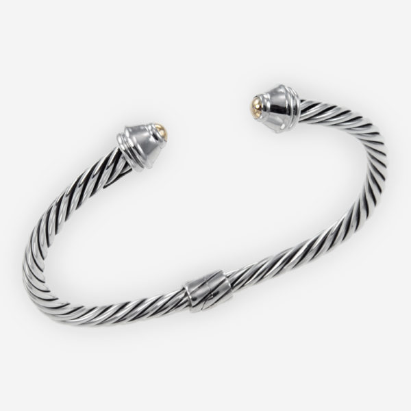Sterling Silver Cable Bracelet with 14kGold and Hinge Closure.