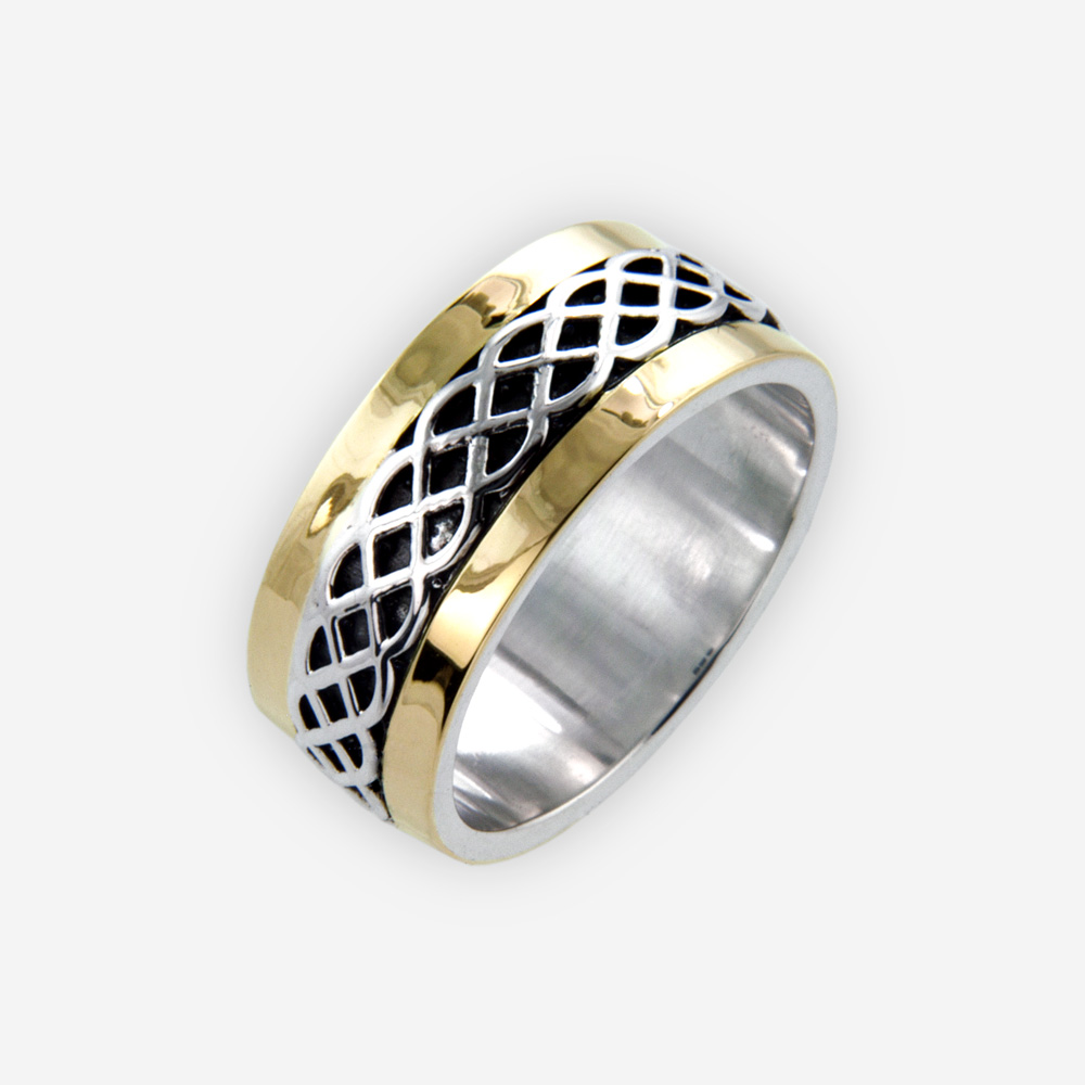 Sterling silver Celtic style band crafted from oxidized 925 sterling silver and 14k gold accents.