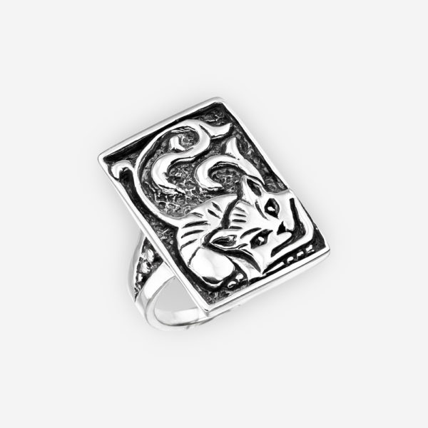Sterling silver Cheshire Cat ring with an oxidized finish.