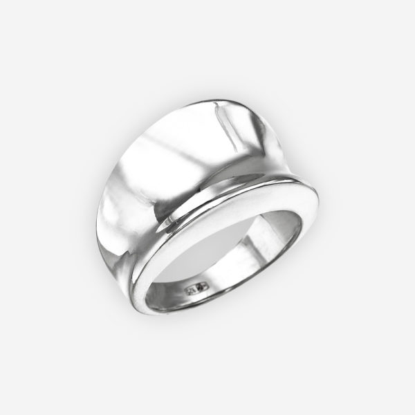Sterling silver concave cocktail ring with a high polished finish.