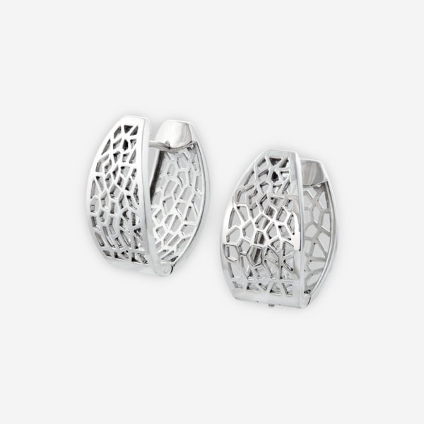 Contemporary Lace Huggie Earrings, made with Sterling Silver open-work texture.