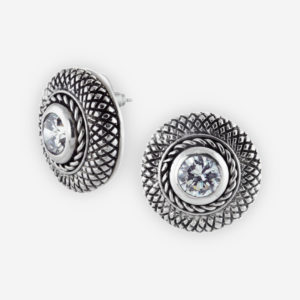 Cookie Stud Earrings Casting in Sterling Silver with Faceted Cubic Zirconia Set. Carved with a Snake Skin Patterns.