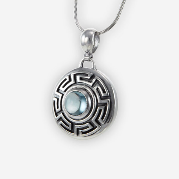 Cookie Pendant Casting in Sterling Silver with Blue Topaz