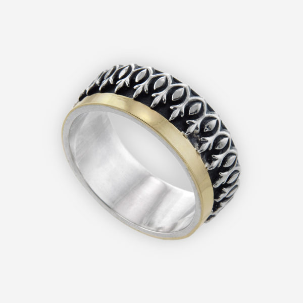 Band Ring Cast in Sterling Silver Carved with an Original Fleur de Lis Crown Design Featuring an Open Wide Bar of 14k Gold.