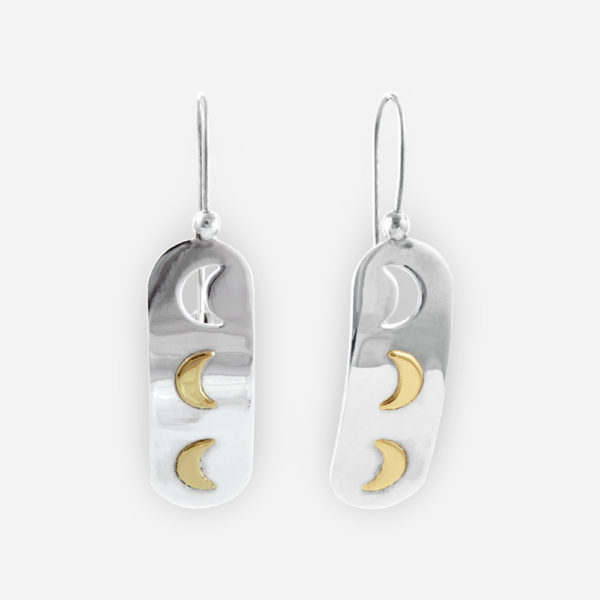 Sterling Silver Dangle Earrings with crescent moons in 14k gold