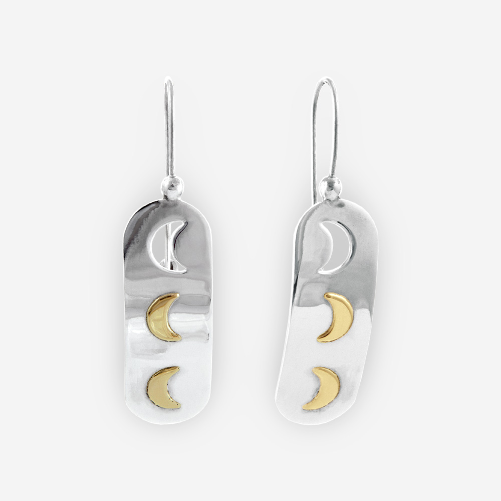 Sterling Silver Dangling Earrings With 14k Gold Crescent Moons
