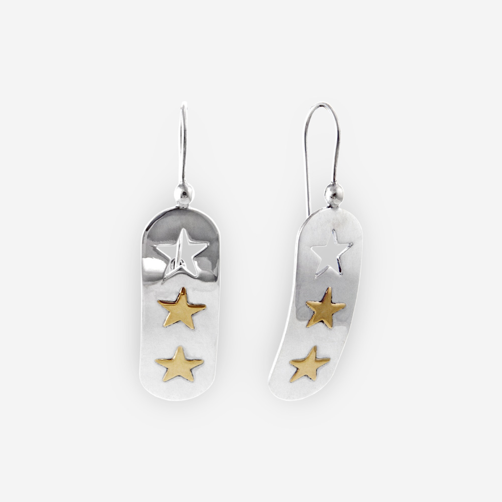 Sterling Silver Dangling Earrings With 14k Gold Stars