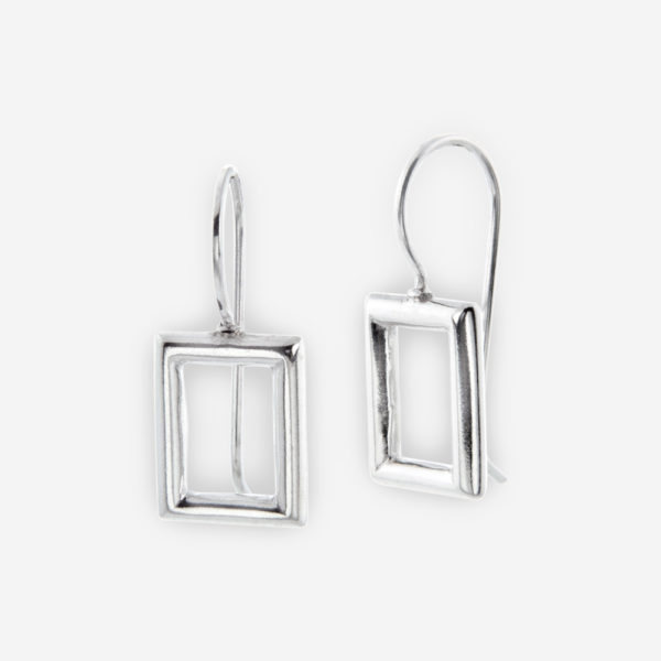 Dangle Earrings crafted in Sterling Silver with an open window Shape.