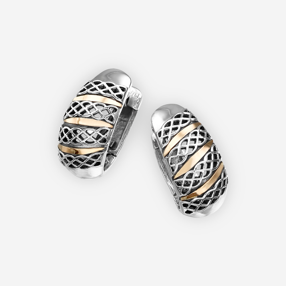 Sterling silver diamond pattern cutout hoops crafted from 925 sterling silver with 14k gold accents.