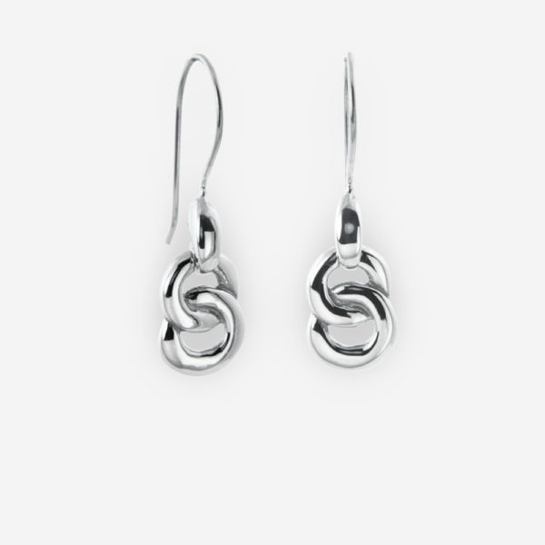 Sterling Silver Dangling Earrings with two open circles Interlaced.