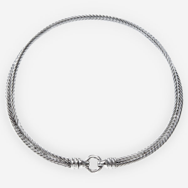 Prettiness Sterling Silver Choker Donut Necklace Crafted with Double Silver Wheat Chain affixed to a Thick Silver Hoop.