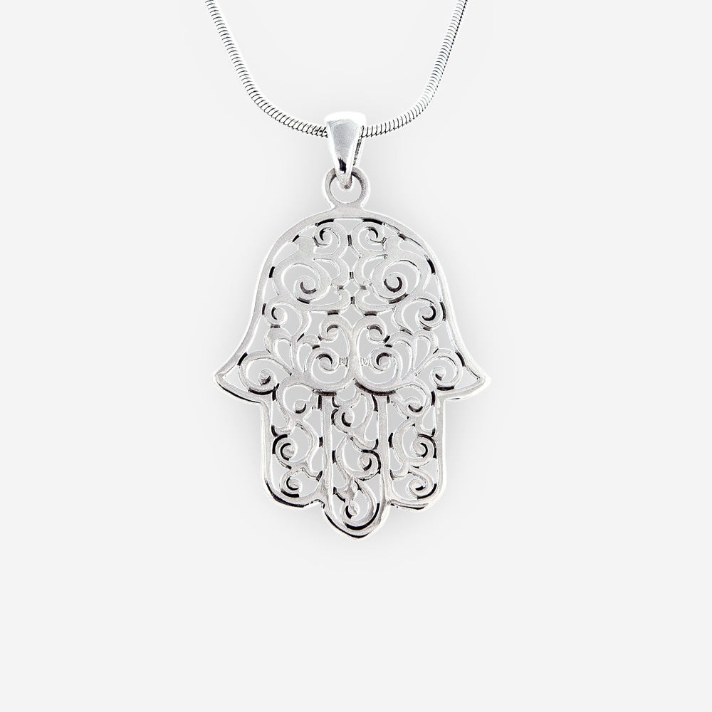 Sterling silver filigree hamsa pendant crafted from 925 sterling silver with a polished finish.