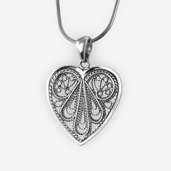 Filigree Heart Pendant Casting in Sterling Silver