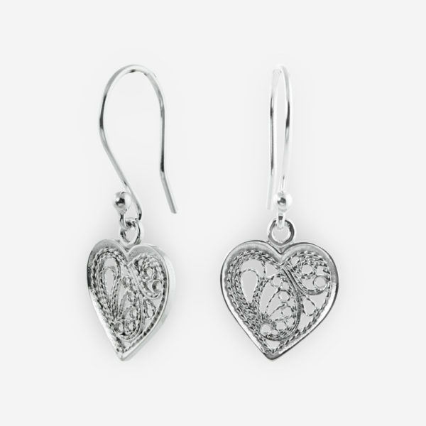 Filigree Dangle Earrings Crafted in Sterling Silver