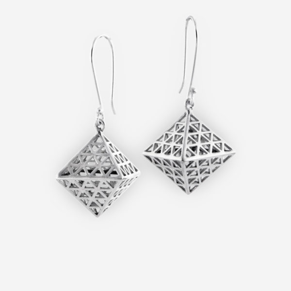 Filigree Octahedron Dangle Earrings Crafted in Sterling Silver with French Hook.