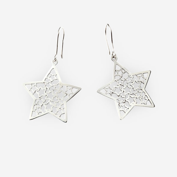 Sterling silver filigree star dangle earrings are crafted from 925 sterling silver.
