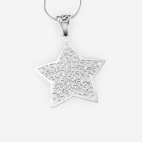 Sterling silver filigree star pendant is crafted from 925 sterling silver.