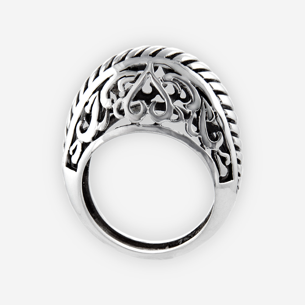 Sterling silver filigree statement ring is crafted from 925 sterling silver and polished finish.