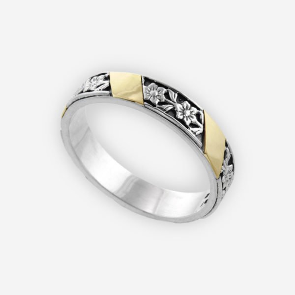 Band Ring Cast in Sterling Silver Carved with Floral Design and 14k Gold.