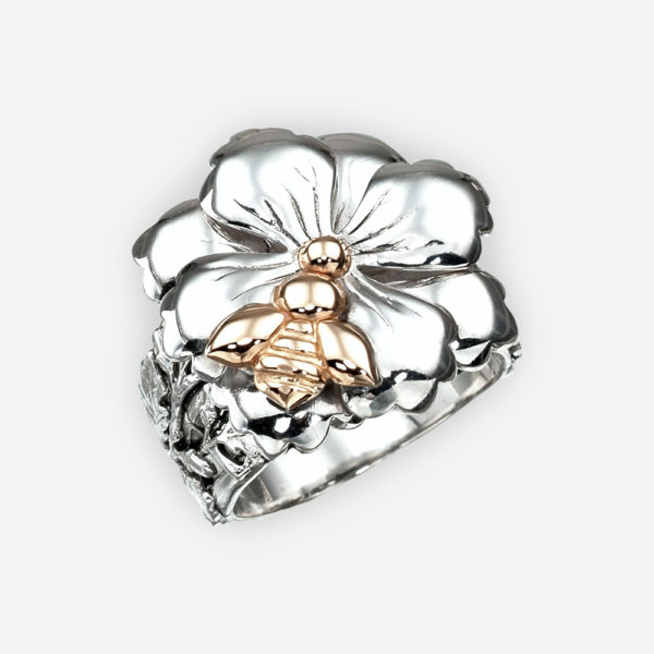 Sterling silver floral ring with 14k gold bee.