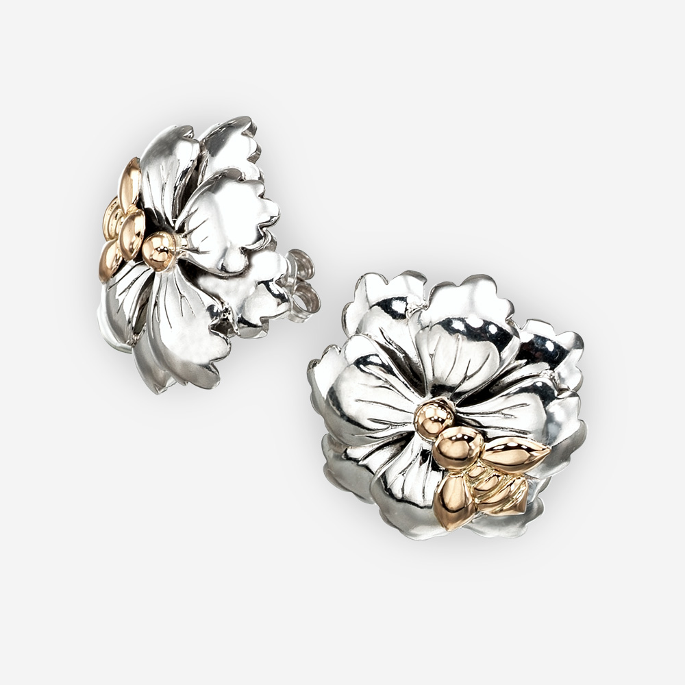 Sterling silver floral studs with 14k gold bee.