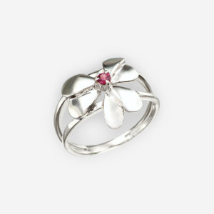 Sterling silver garnet flower ring with a high polished finish.