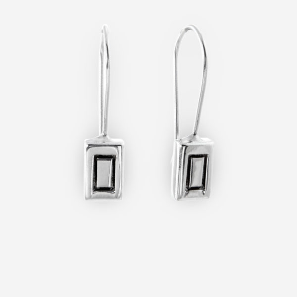 Dangle Earrings with rectangle shape crafted in Sterling Silver