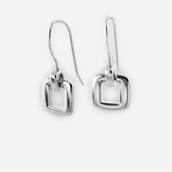 Geo-Open Square Dangling Earrings crafted in Sterling Silver.