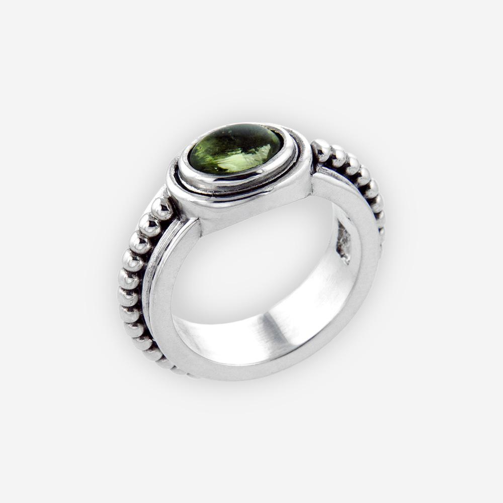 Sterling silver granulated gemstone ring crafted from oxidized sterling silver and gemstone cabochon.