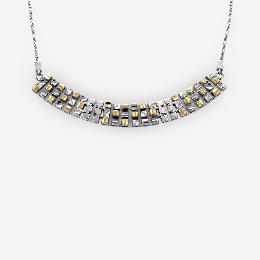 Sterling silver grid design collar necklace crafted from 925 sterling silver and 14k gold accents.