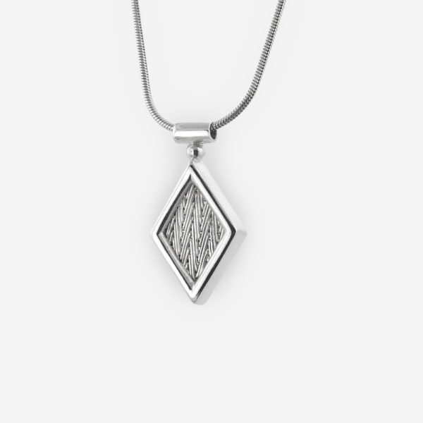 Hand Woven Necklace crafted in Sterling Silver in Diamond Shape with Delicate Chain.