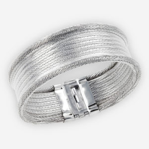 Handwoven Cuff Bracelet crafted in Sterling Silver Fabric