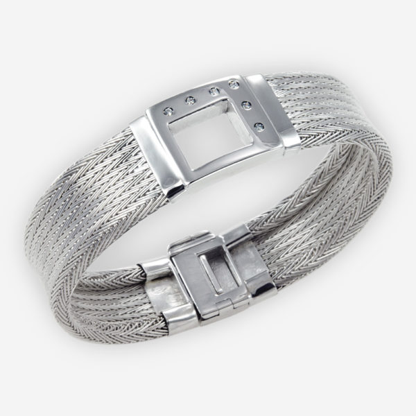 Handwoven Cuff Bracelet crafted in Sterling Silver Fabric with cubic zirconias