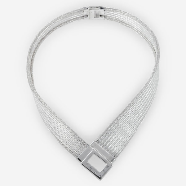 Handwoven Plunging Necklace crafted in Sterling Silver Fabric with cubic zirconias