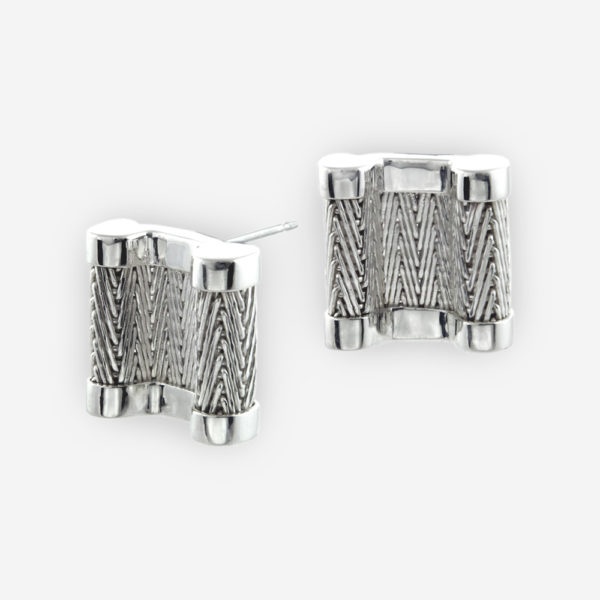 Handwoven Stud Earrings crafted in Sterling Silver Fabric