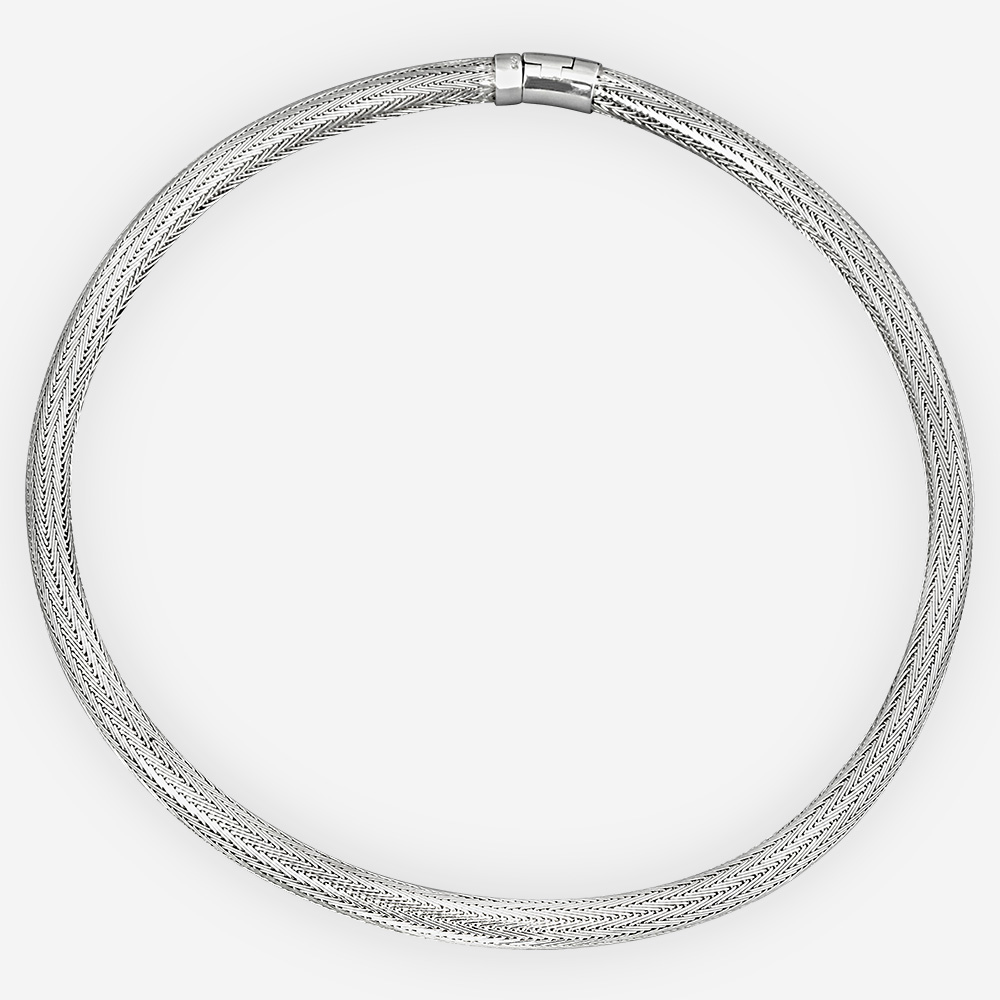 Sterling silver herringbone chain collar necklace is handwoven and has a high polished finish.