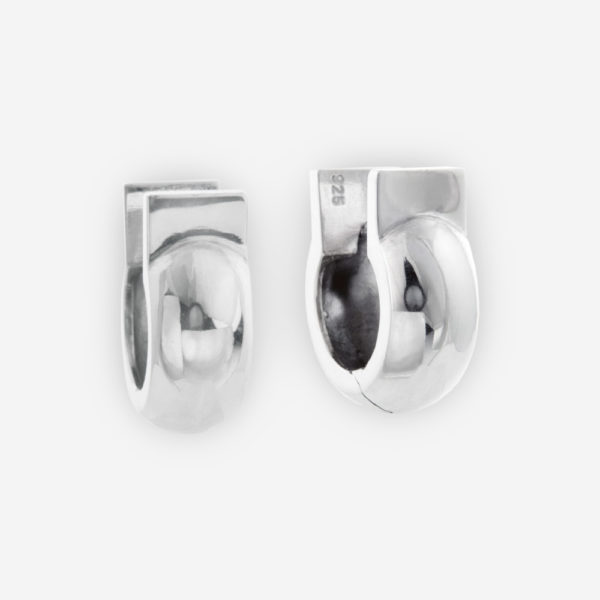 Huggie Earrings with Horseshoe Style Casted in Sterling Silver.