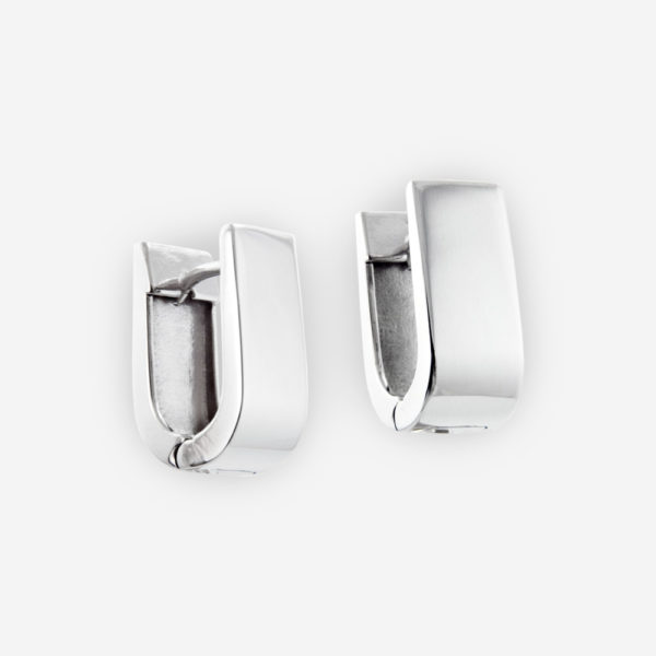 Sterling Silver Huggie Earrings in U-shaped.