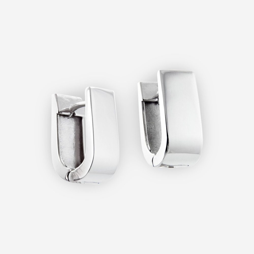 Sterling Silver Huggie Earrings With Horseshoe Style U Shaped