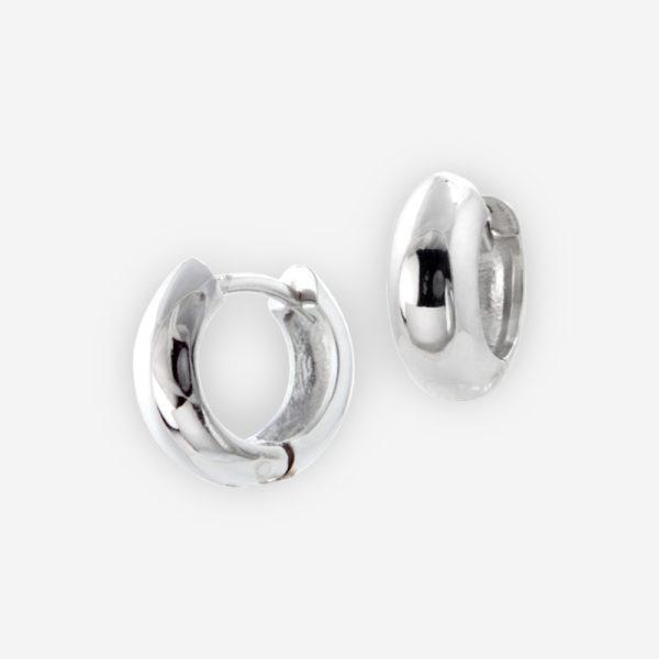Huggie Hoop Earrings Casted in Sterling Silver.