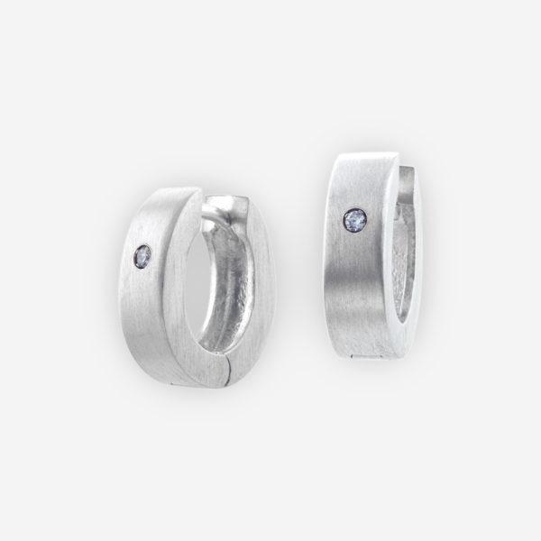 Huggie Hoop Earrings Casting in Sterling Silver with Cubic Zirconia