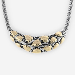 Sterling Silver Intricate Necklace with Grape Vine Leaf in 14k gold and Wide Foxtail Chain.