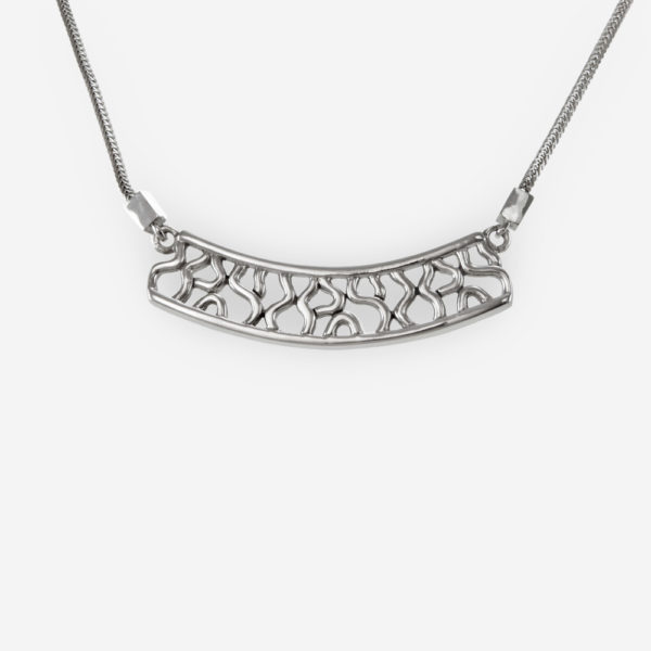 Intricate Open work Necklace. Cast in Sterling Silver, with an abstract Design.