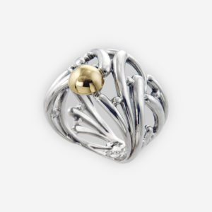 Intricate Ring Cast in Sterling Silver with 14k Gold Center.