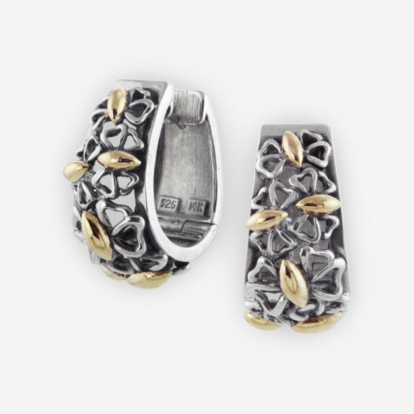Intricate Huggie Hoop Earrings Casting in Sterling Silver with Butterflies in 14k gold.