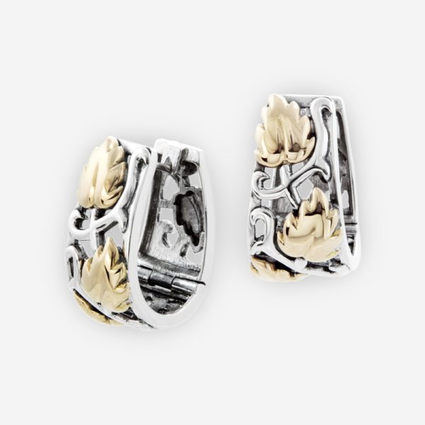 Sterling Silver Intricate Huggie Earrings with Fig Leaves in 14k gold.