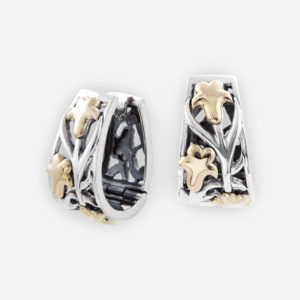 Sterling Silver Intricate Huggie Earrings with Grape Vine Leaves in 14k gold.