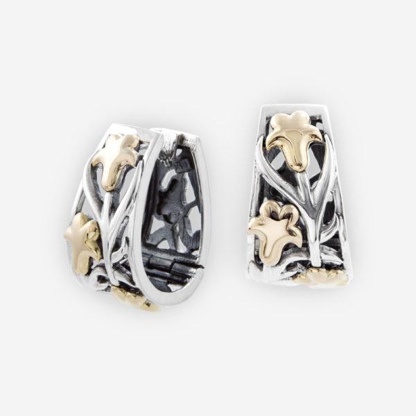 Aretes huggie de Plata y hojas de parra de oro 14kt.