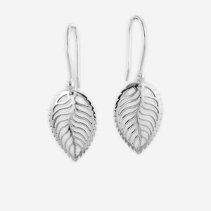 Lace Filigree Leaf Dangle Earrings Casting in Sterling Silver.