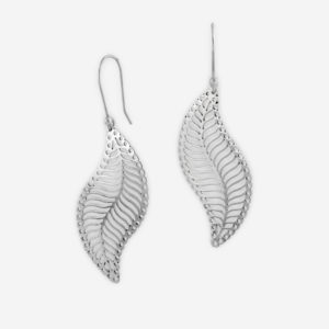 Lace Filigree Leaf Dangle Earrings Casting in Sterling Silver.